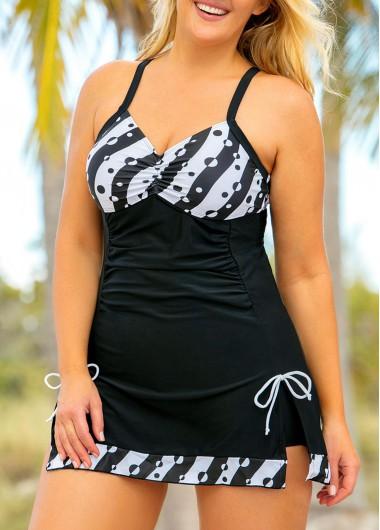 Polka Dot Tie Side Plus Size Swimdress and Shorts