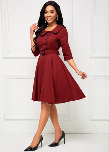 Turndown Collar Buckle Belted Vintage Dress - 2XL