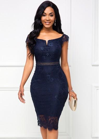 Cap Dress Lace Navy Blue Bodycon Dress - 2XL