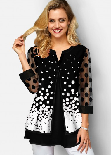 Plus Size Polka Dot Mesh Stitching T Shirt - 1X