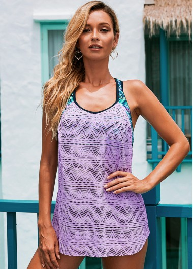 Contrast Light Purple Mesh Swimwear Top - 2XL