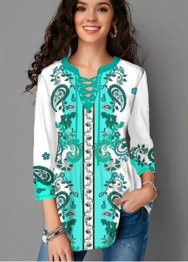 Plus Size Tribal Print Lace Up Blouse - 1X