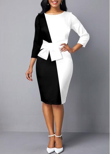 Color Block Bowknot 3/4 Sleeve Bodycon Dress - L
