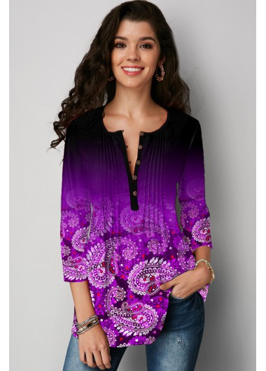 Plus Size Paisley Print Crinkle Chest T Shirt - 1X