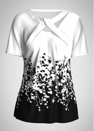 Floral Print Criss Cross Neck Short Sleeve T Shirt - L
