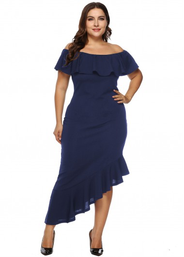 Plus Size Asymmetric Hem Ruffle Overlay Dress - 2XL