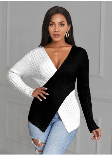 Plus Size Color Block Asymmetric Hem V Neck Sweater - 1X