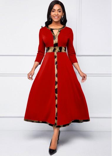 Animal Pattern Keyhole Neckline 3/4 Sleeve Dress - L