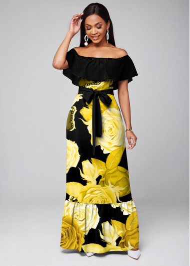 Belted Floral Print Overlay Maxi Dress - L