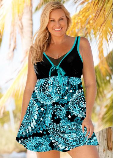 Plus Size Fluorescent Green Paisley Print Swimdress and Shorts - 1X