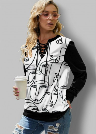 Long Sleeve Abstract Print Lace Up Sweatshirt - L