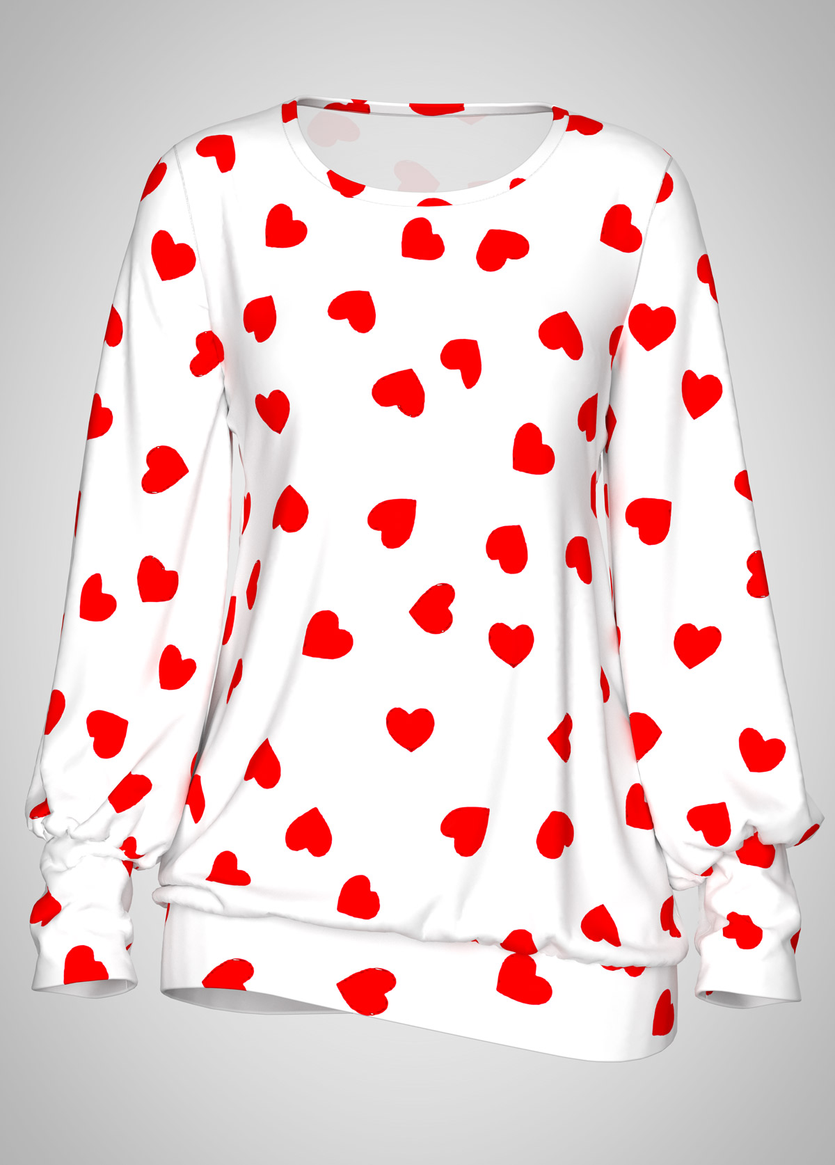 Heart Print Blouson Sleeve Round Neck T Shirt