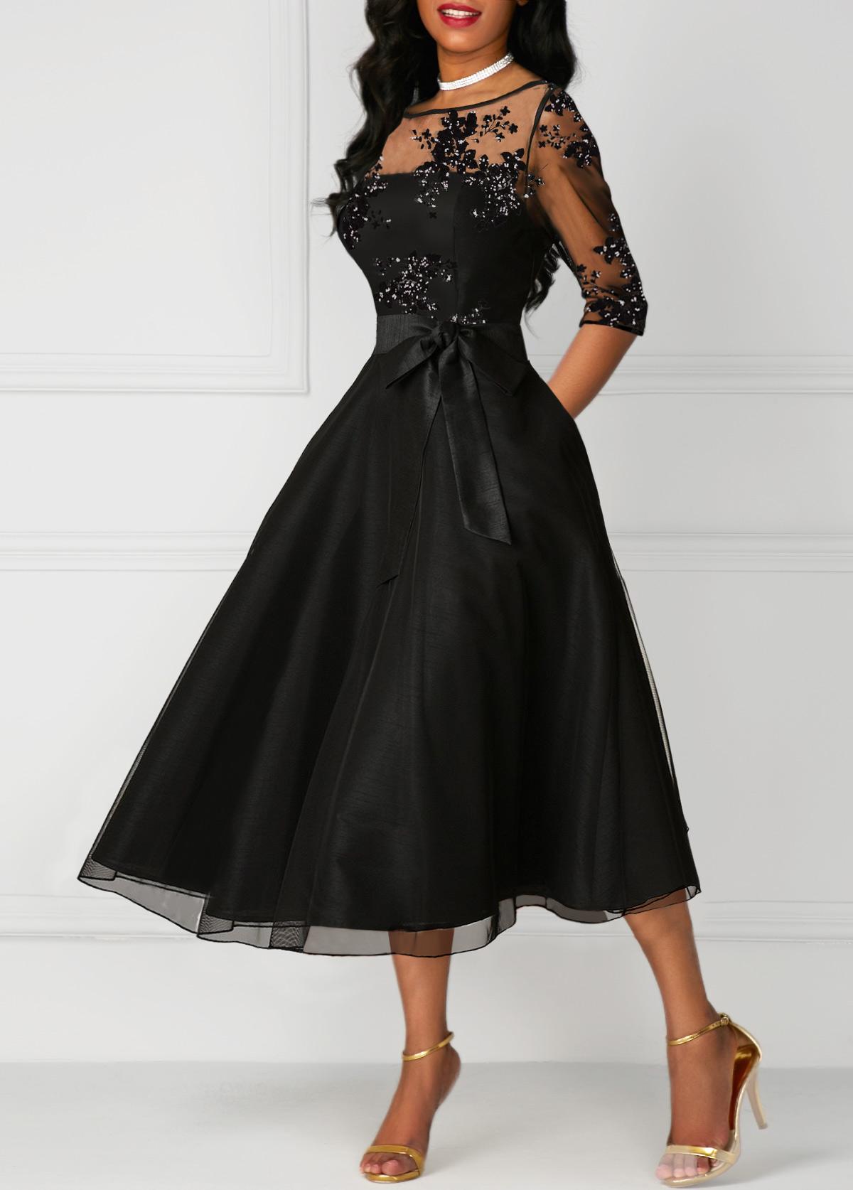 Lace Panel High Waist Three Quarter Sleeve Dress