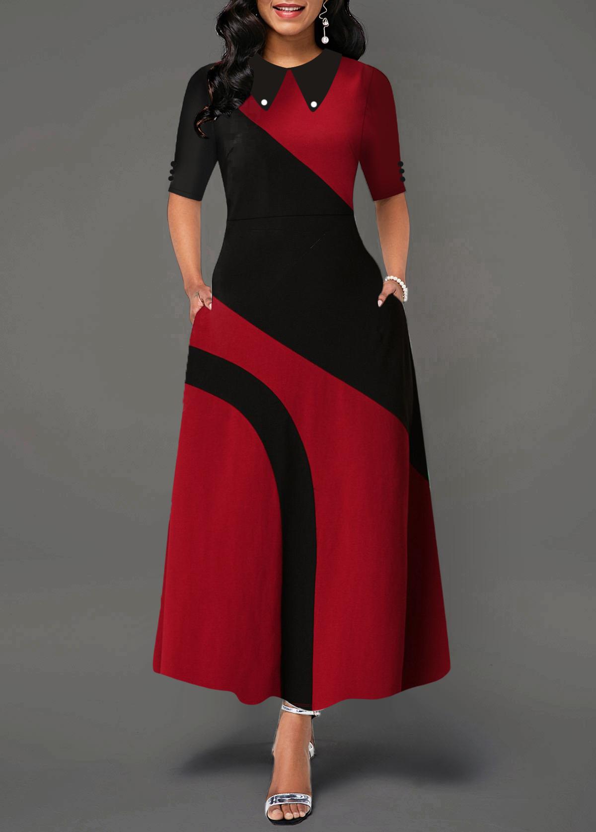 Contrast Turndown Collar Side Pocket Maxi Dress