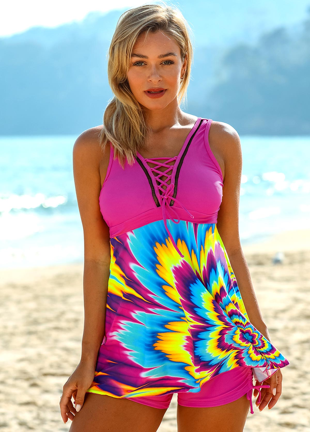 Colorful Cross Strap Lace Up Swimdress and Shorts