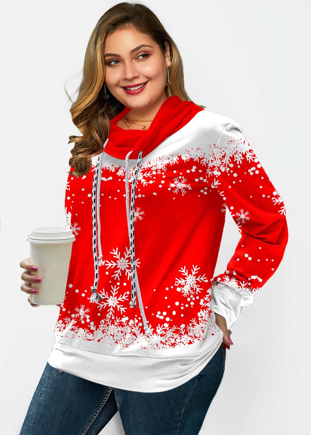 Plus Size Snowflake Print Drawstring Sweatshirt