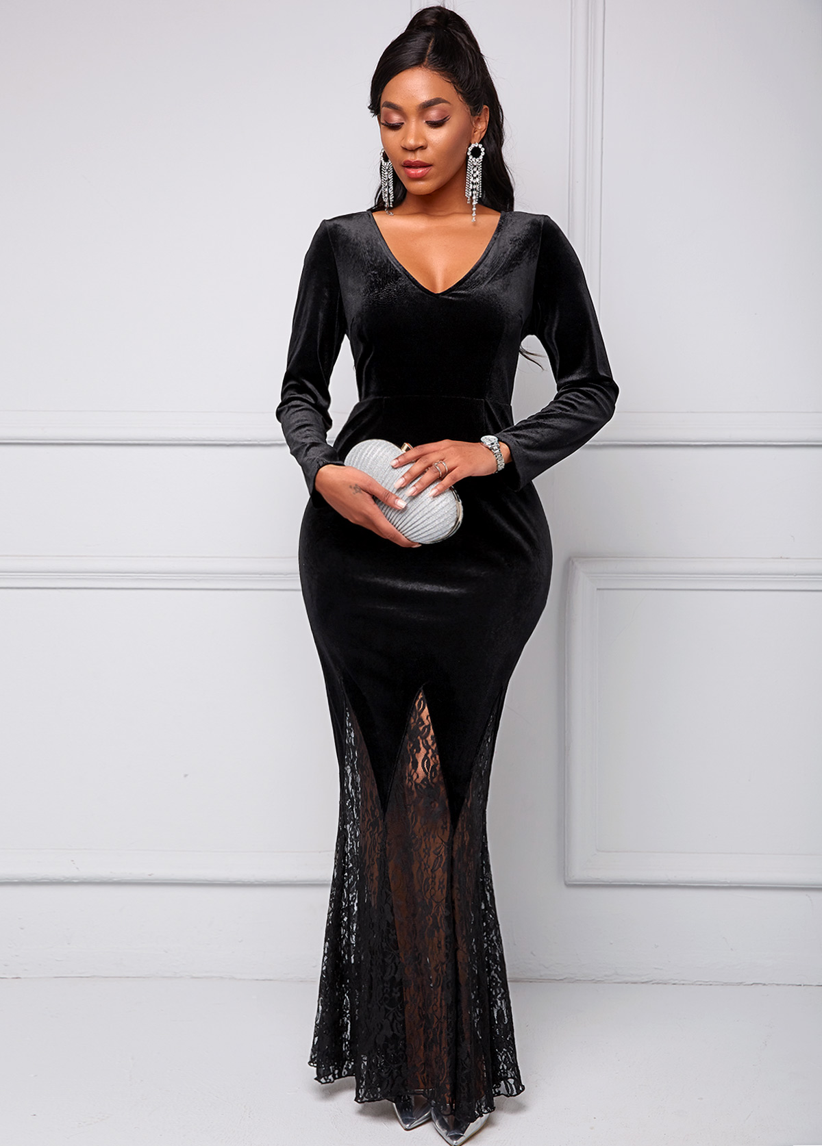Lace Stitching V Neck Long Sleeve Dress