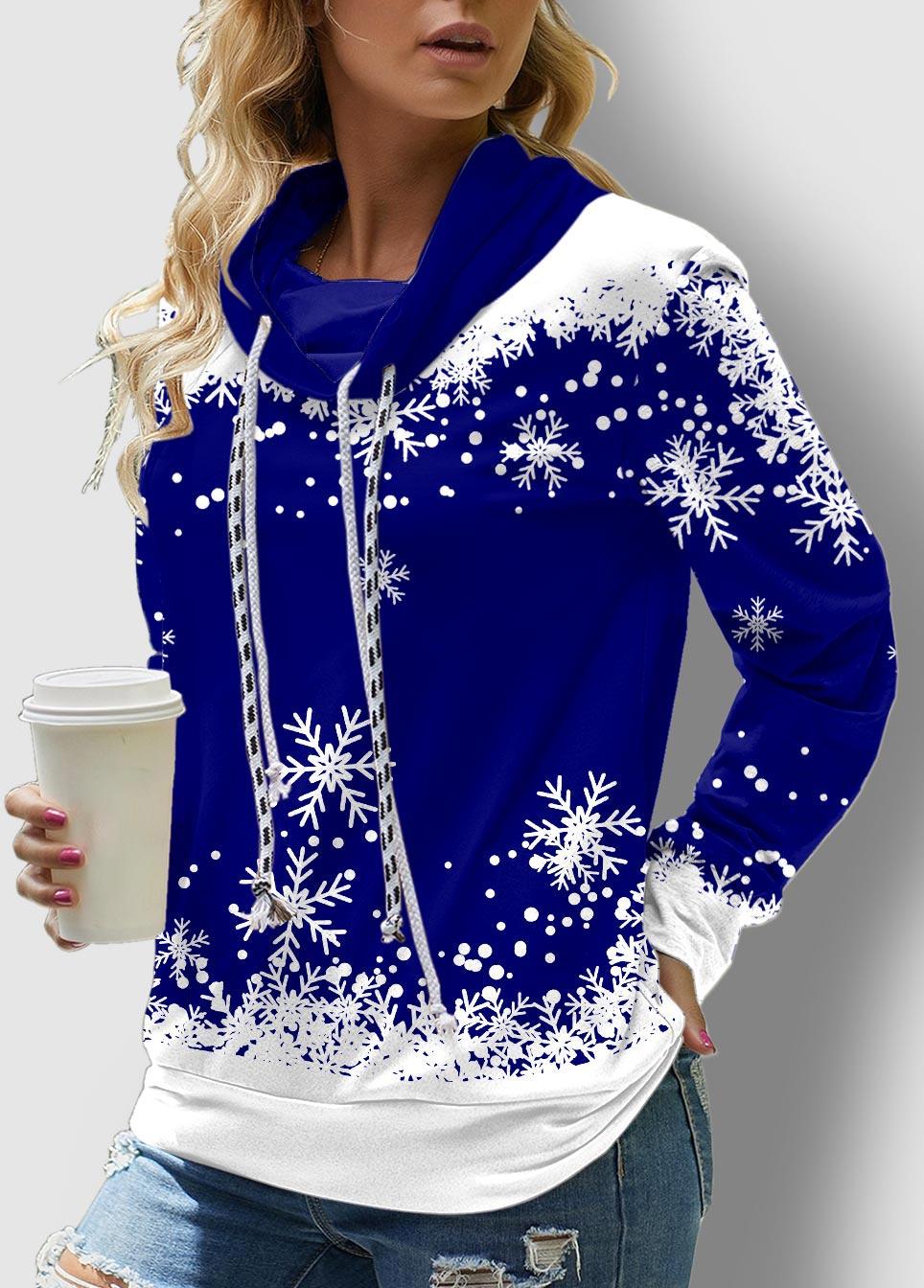 Drawstring Snowflake Print Long Sleeve Sweatshirt