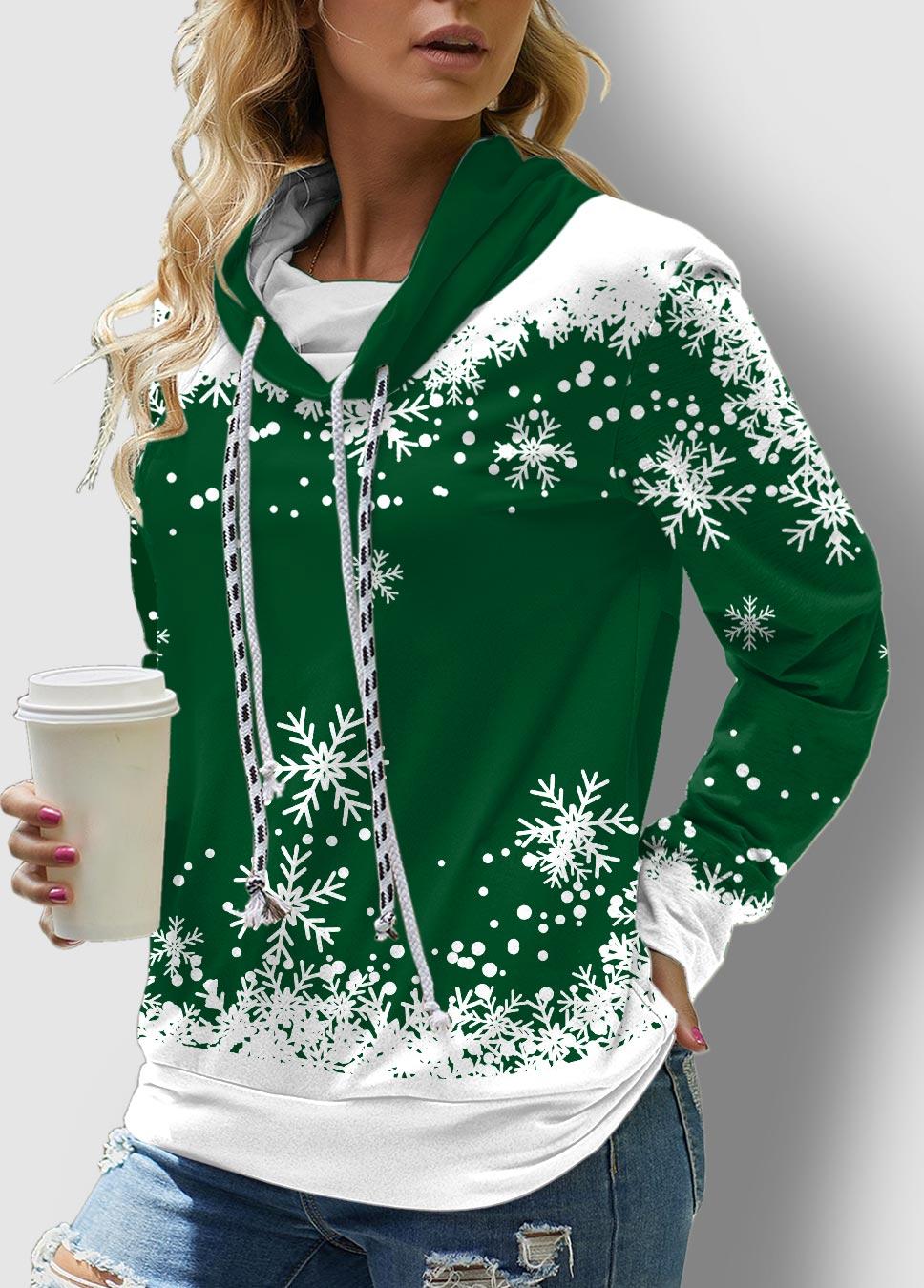 Snowflake Print Long Sleeve Drawstring Sweatshirt