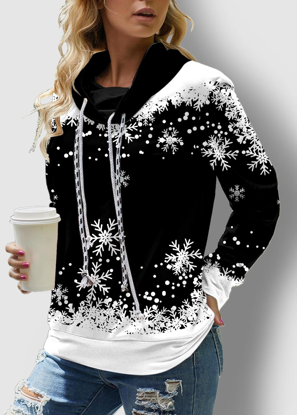 Long Sleeve Drawstring Snowflake Print Sweatshirt