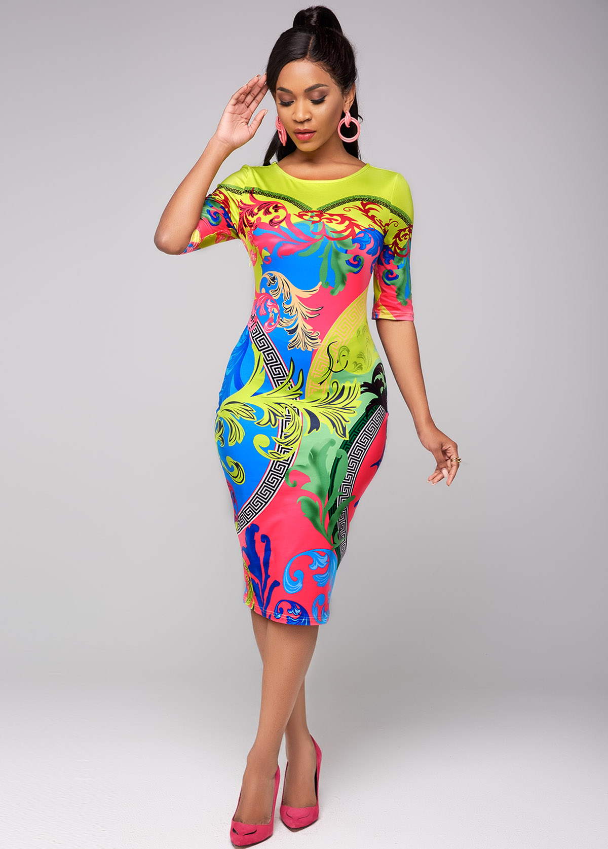 Tribal Print Round Neck Half Sleeve Dress