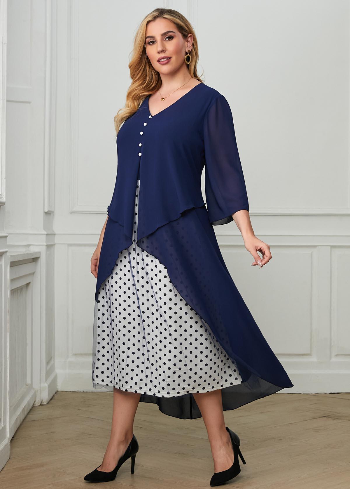 Mesh Stitching Polka Dot Layered Plus Size Dress