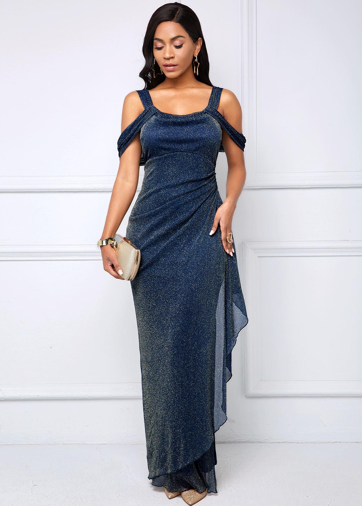 Bright Silk Strappy Cold Shoulder Side Slit Dress