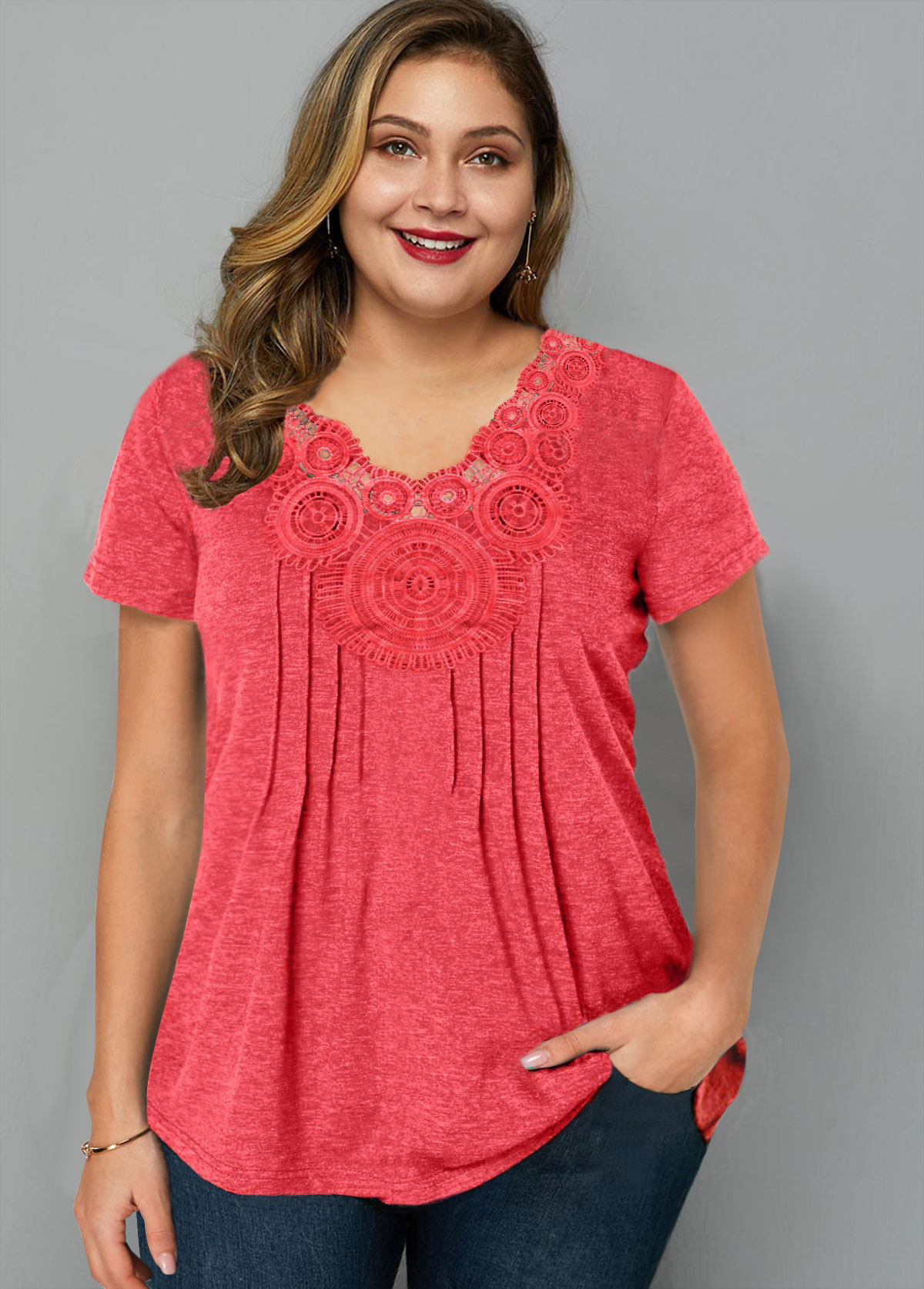 Plus Size Crinkle Chest Short Sleeve T Shirt