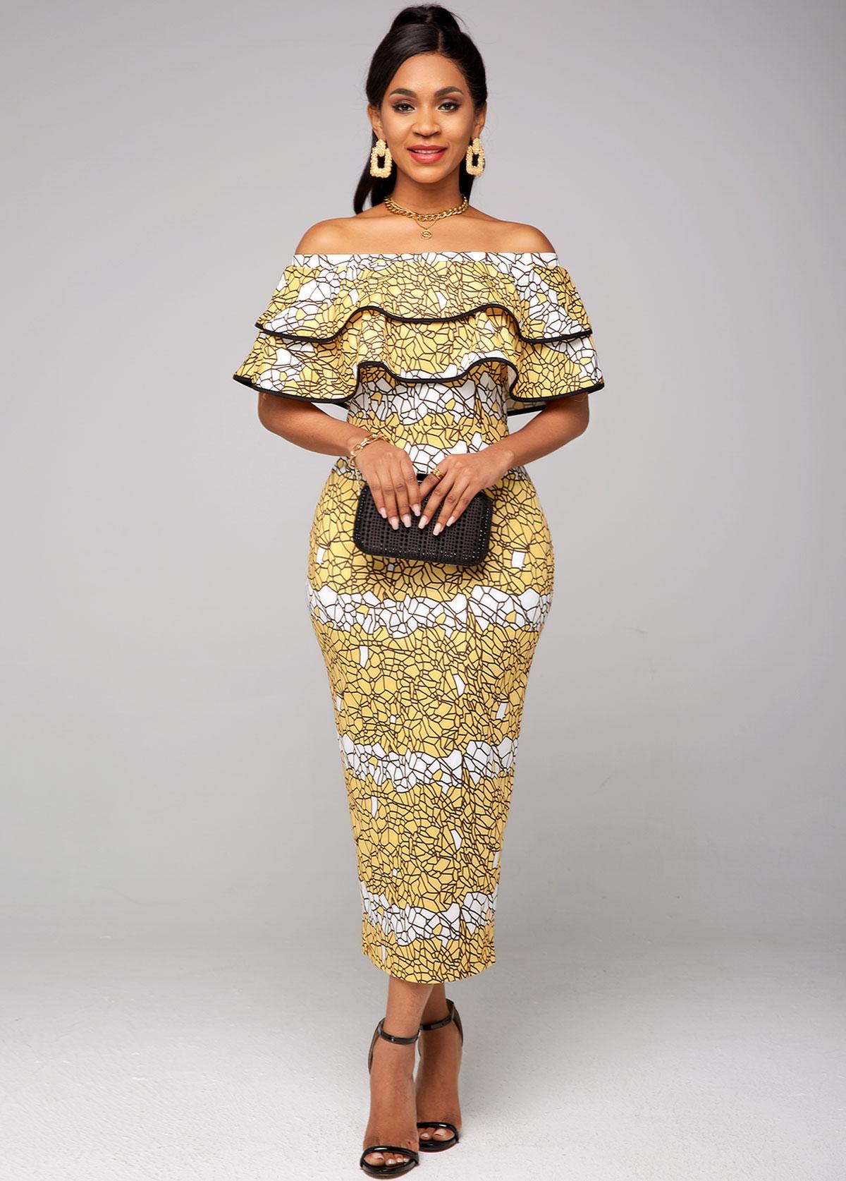 Printed Off Shoulder Ruffle Overlay Dress