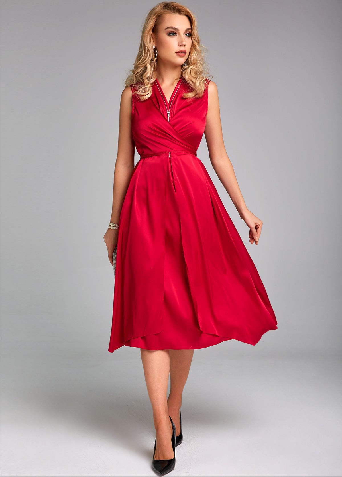 Quarter Zip Sleeveless Tie Back Dress