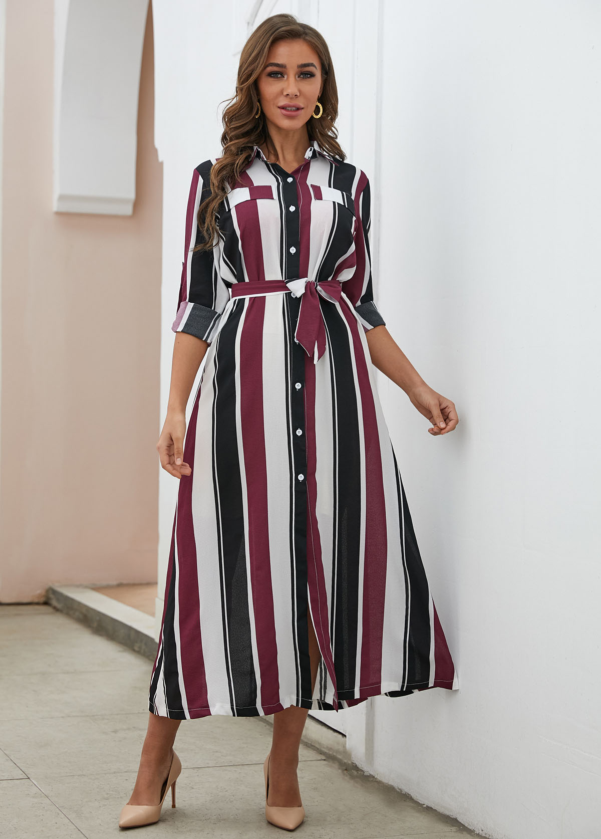 Belted Button Up Striped Maxi Dress