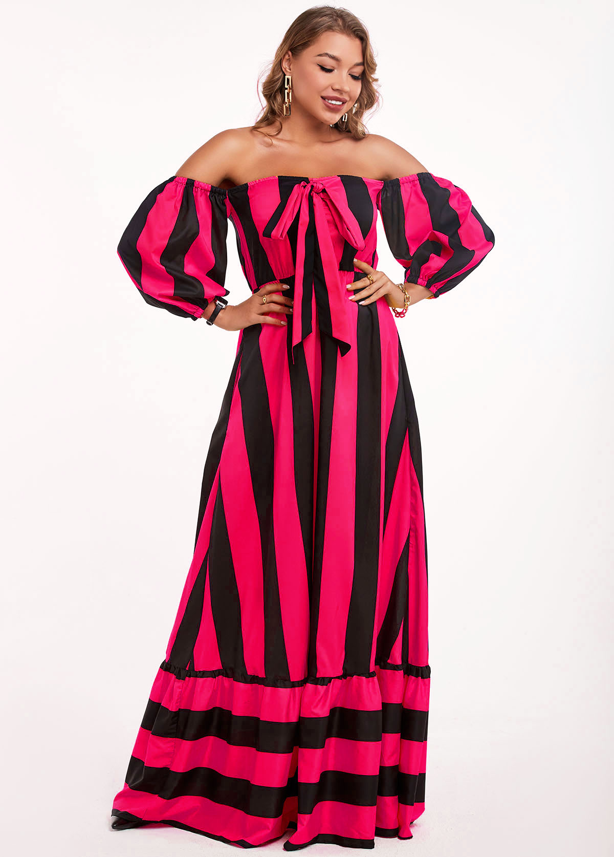 Bowknot Striped Off Shoulder Maxi Dress