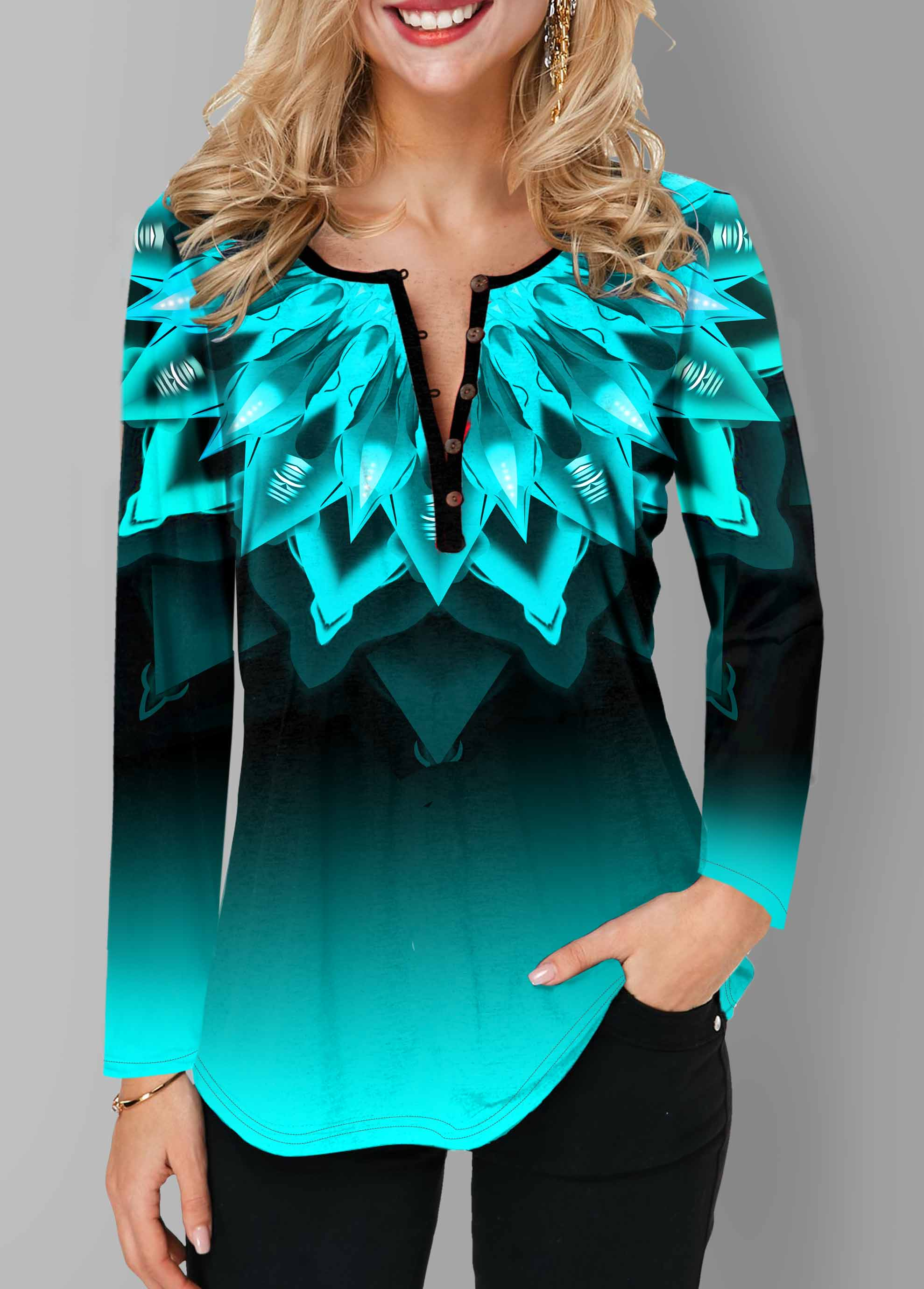 Printed Long Sleeve Ombre Button T Shirt