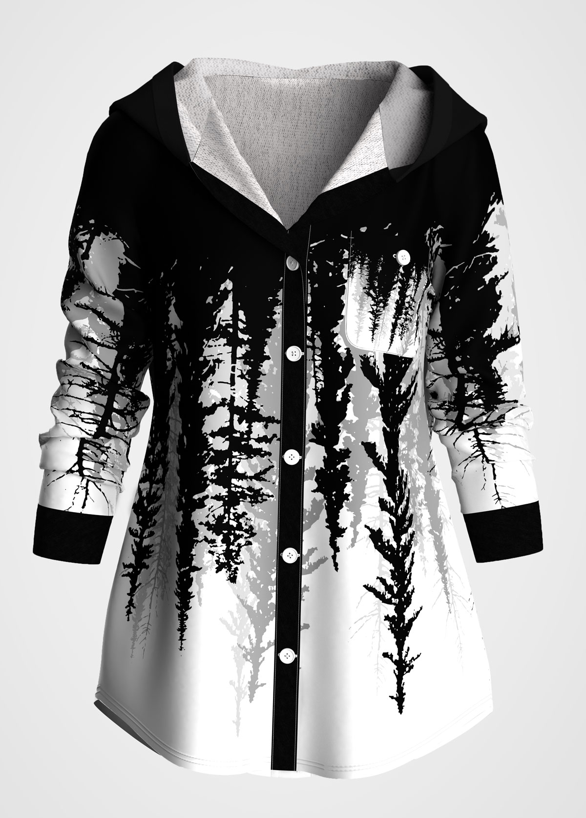 Button Up Scape Print Long Sleeve Hoodie