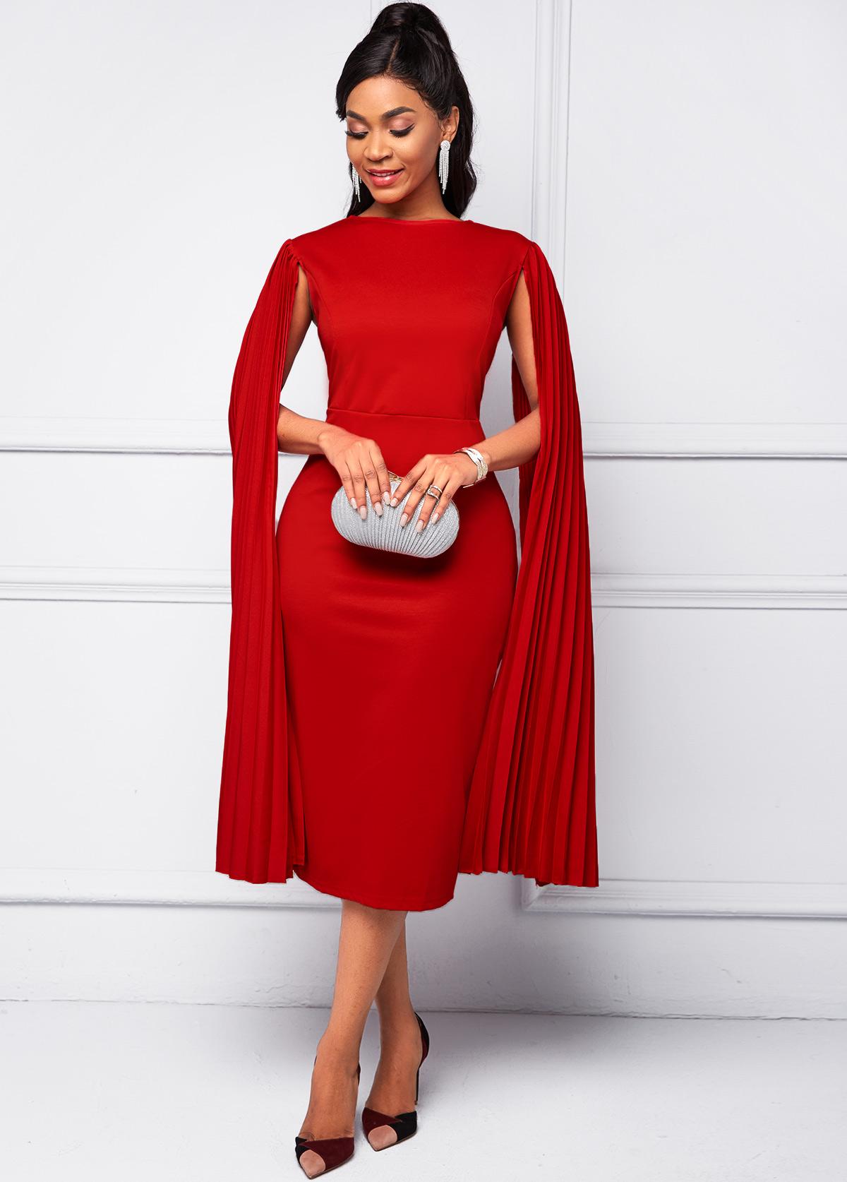 Cape Sleeve Red Round Neck Bodycon Dress