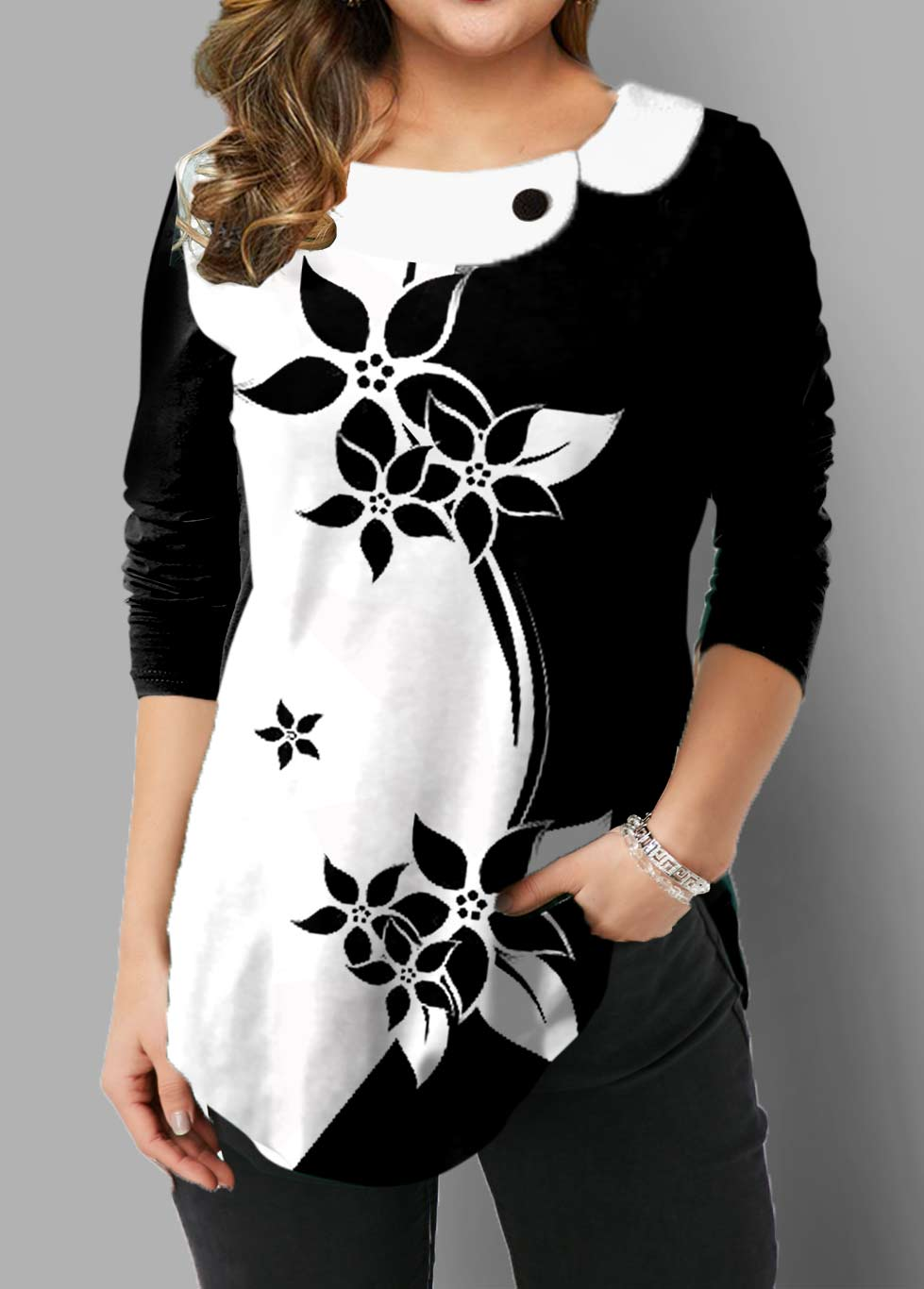 Plus Size Floral Print Long Sleeve T Shirt