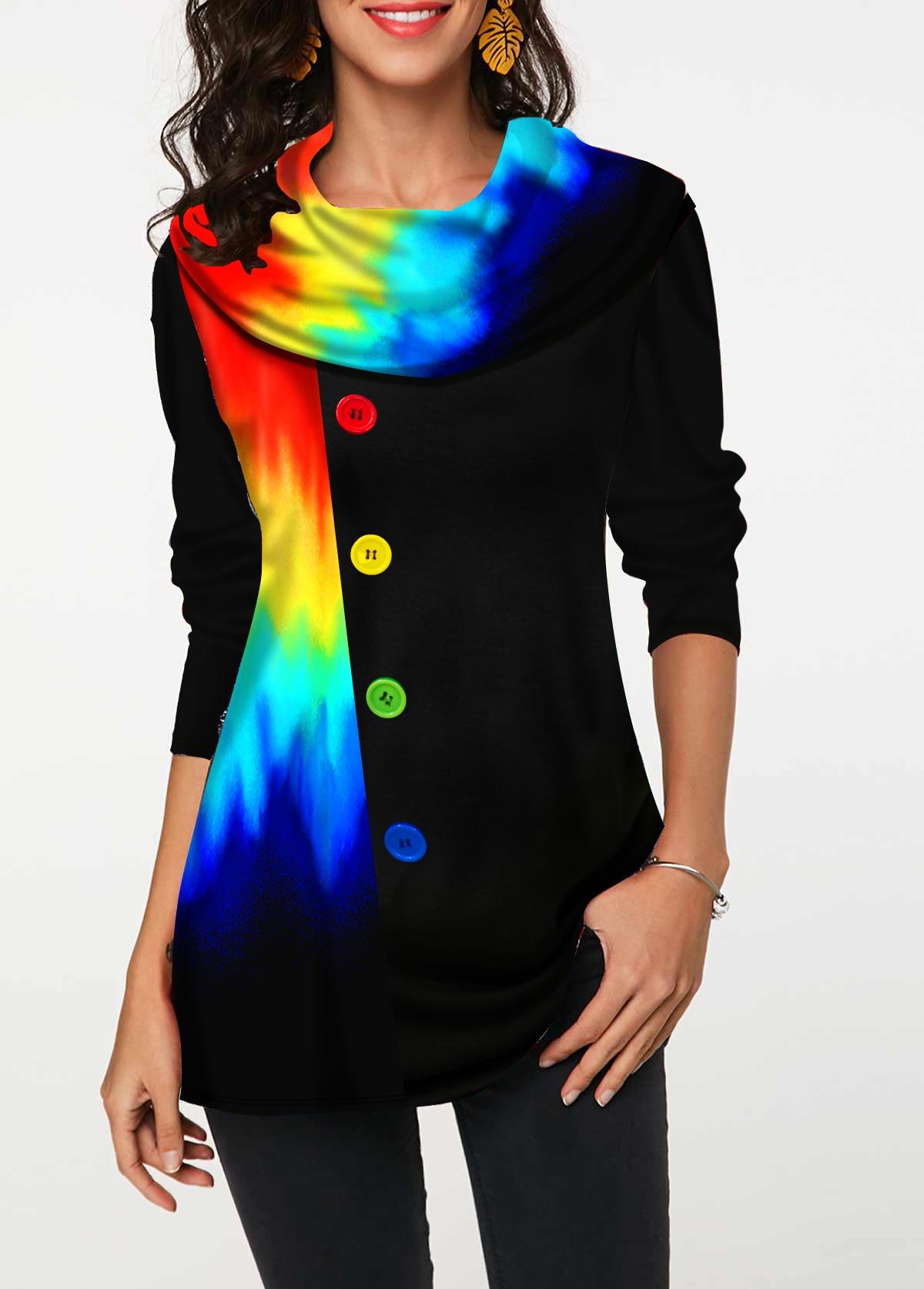 Colorful Printed Decorative Button Tunic Top