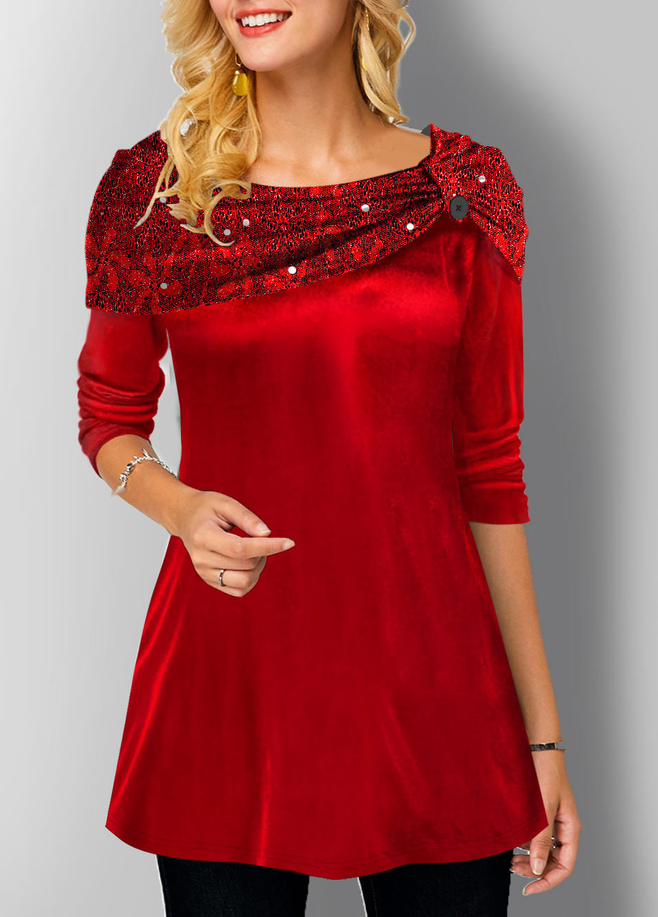Velvet Stitching Long Sleeve Tunic Top