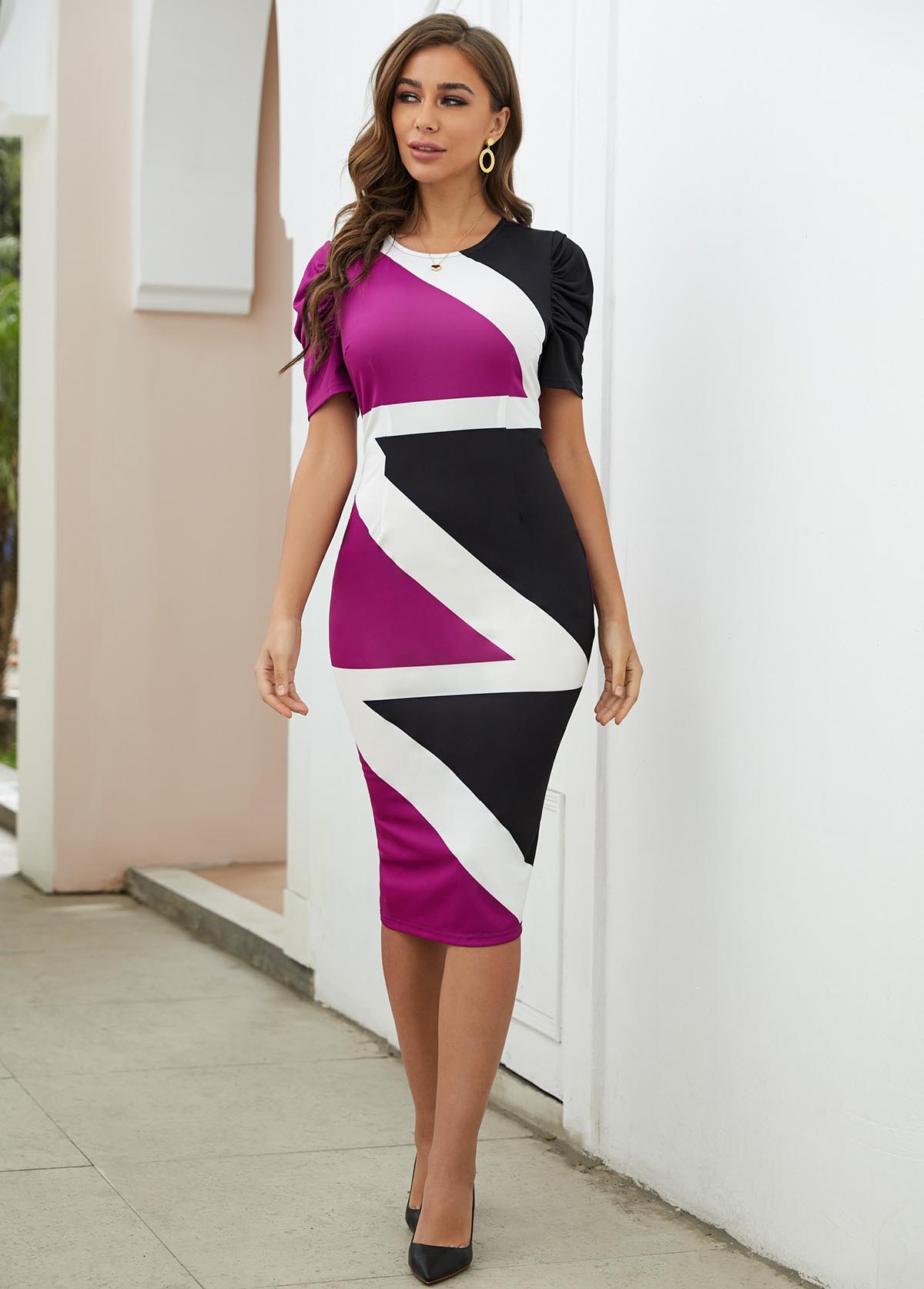 Contrast Round Neck Short Sleeve Bodycon Dress
