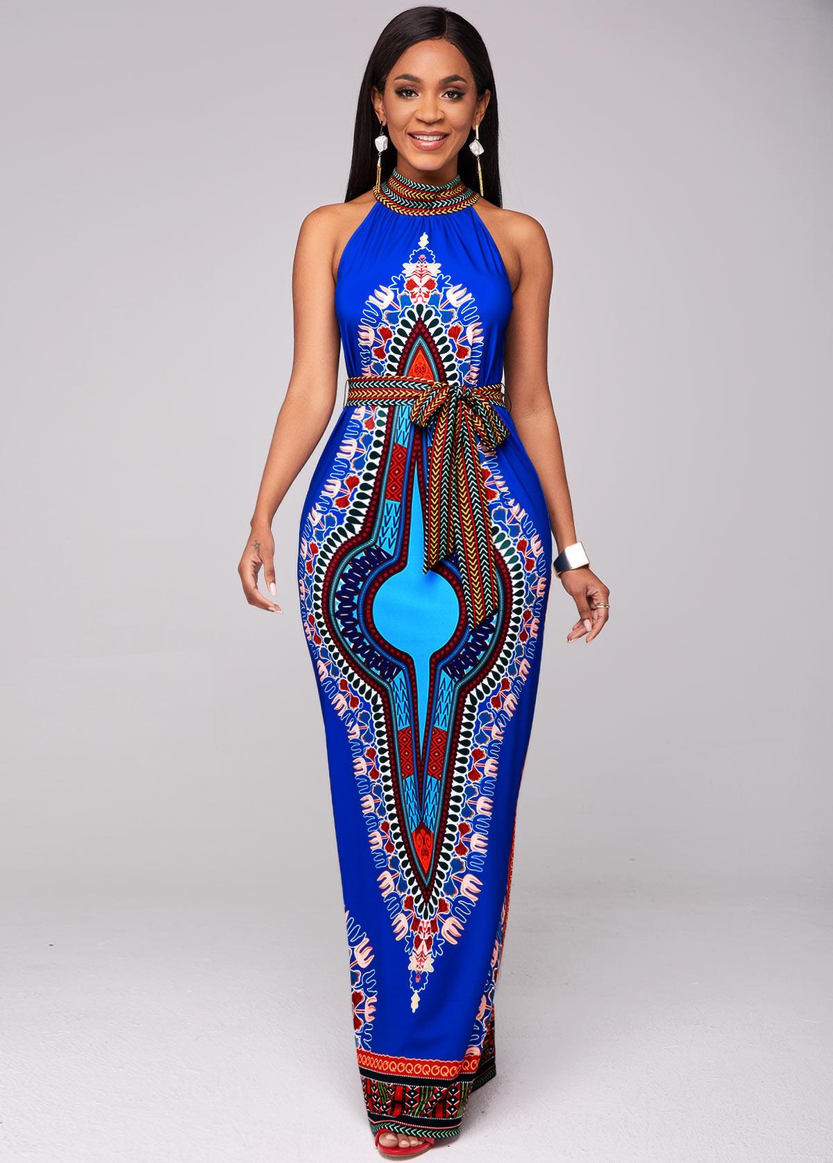 Dashiki Print Belted Bib Neck Maxi Dress