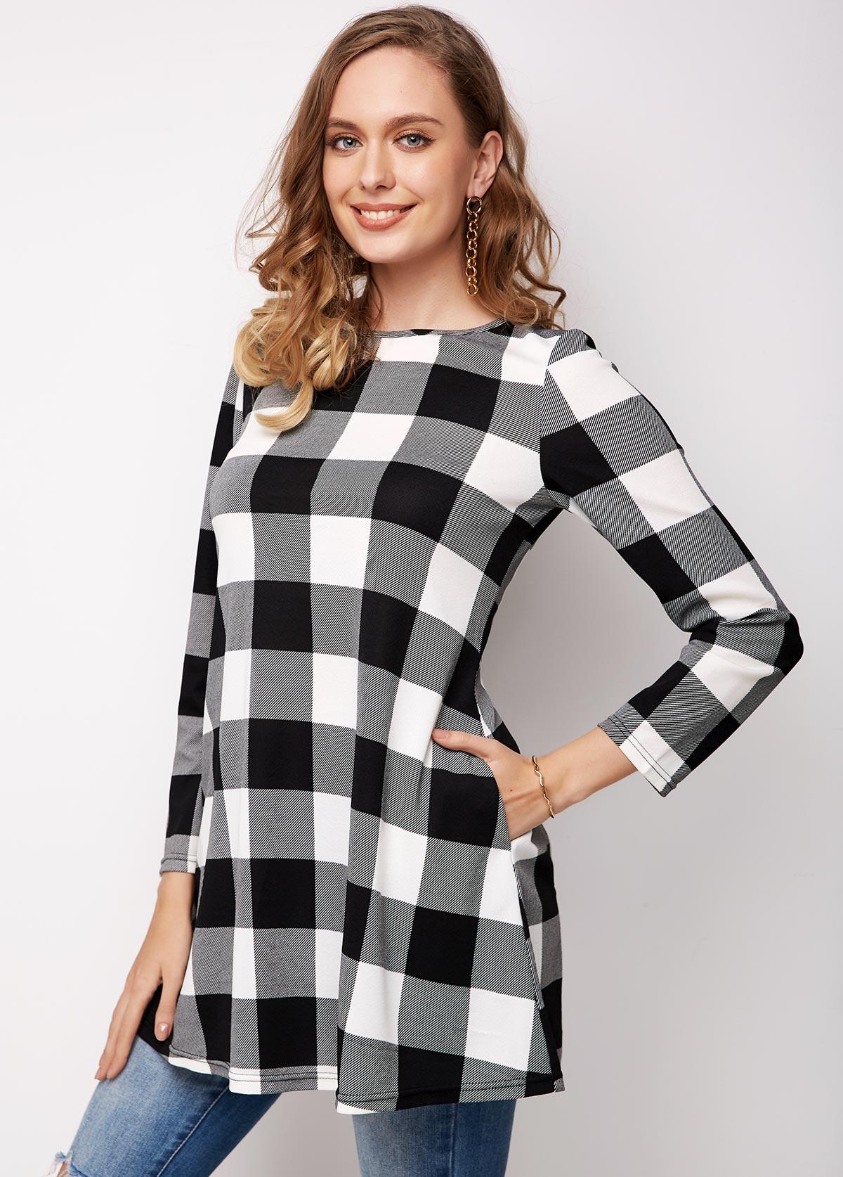Plaid Long Sleeve Round Neck Pocket T Shirt