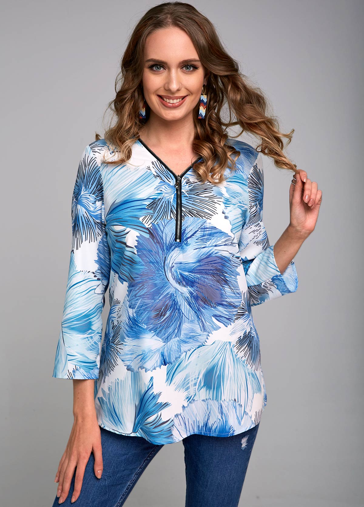 Plant Print Quarter Zip 3/4 Sleeve Blouse