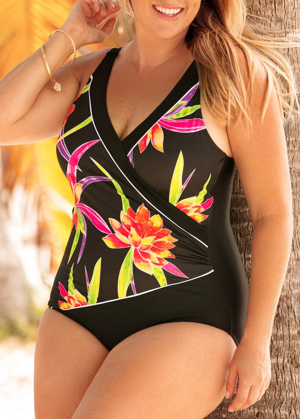 Plus Size Floral Print Black One Piece Swimwear