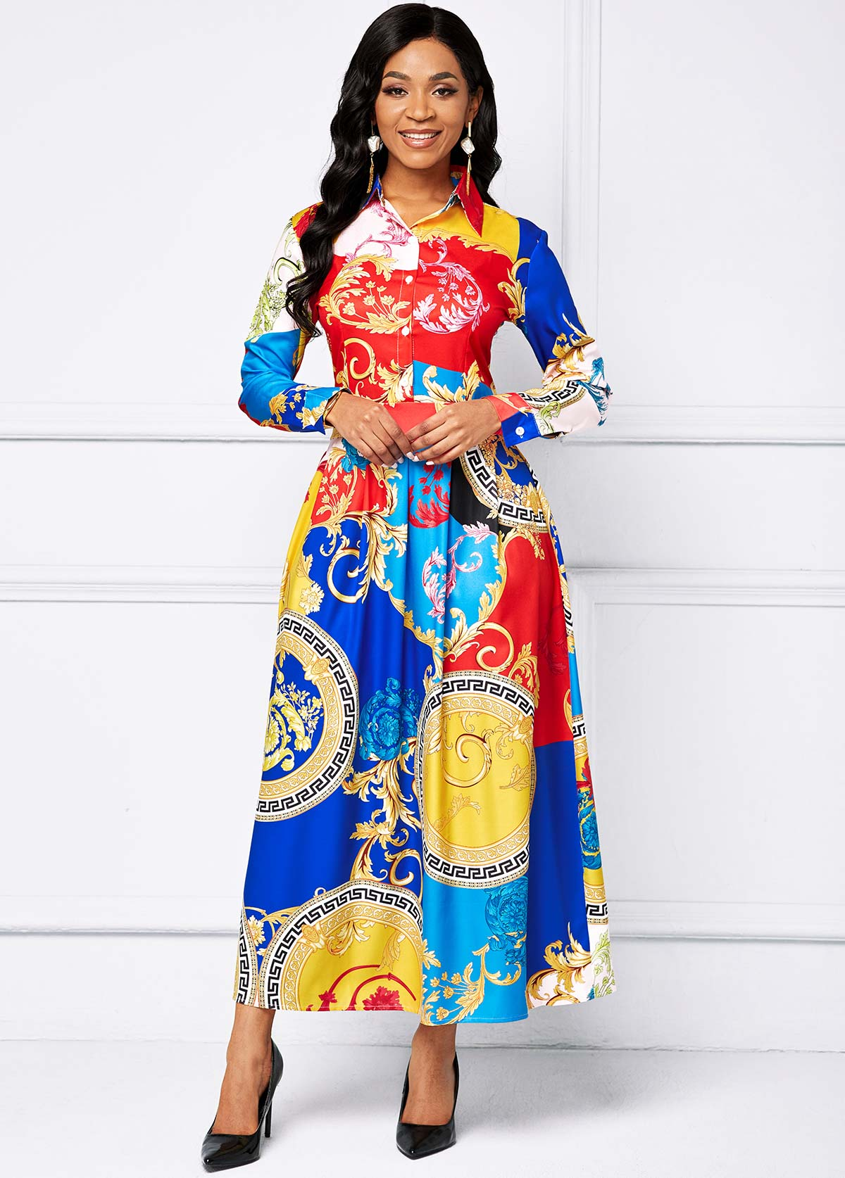 Printed Button Long Sleeve Maxi Dress