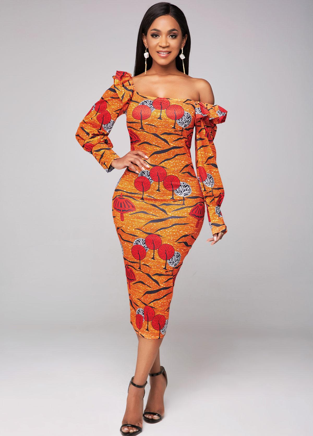Printed Long Sleeve Flounce Sheath Dress