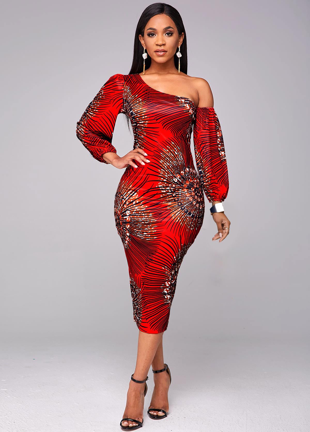 Lantern Sleeve Skew Neck Printed Bodycon Dress