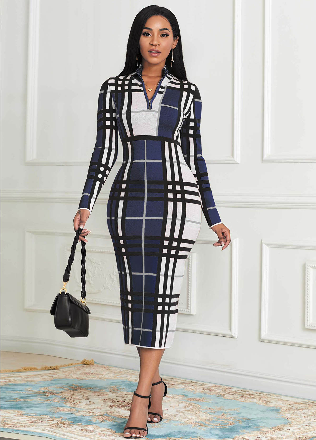 Plaid Zip Front Long Sleeve Sweater Dress
