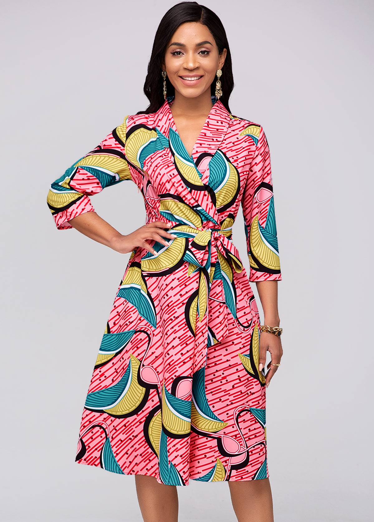 Belted Printed 3/4 Sleeve Red Dress