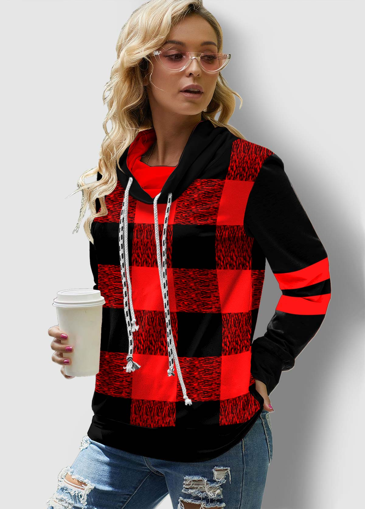 Plaid Drawstring Neck Contrast Long Sleeve Sweatshirt