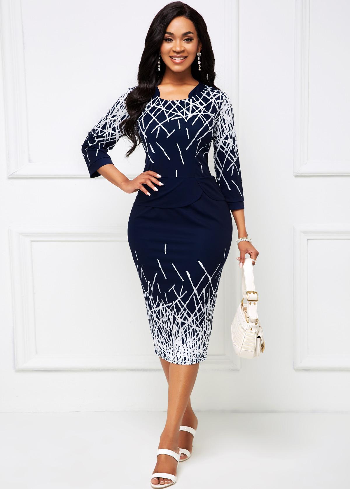 Printed 3/4 Sleeve Asymmetrical Neck Dress